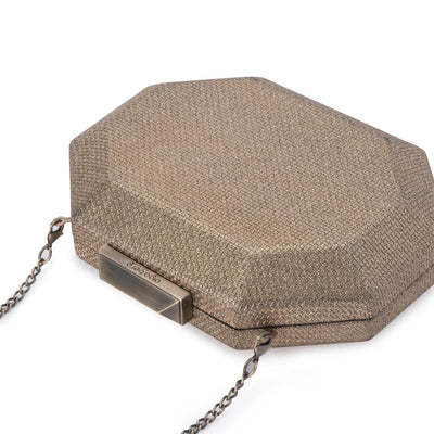 Olga Berg Diana Octagon Clutch evening bag in Brass colourway showing detailed close up