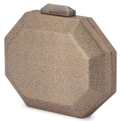 Olga Berg Diana Octagon Clutch evening bag in Brass colourway showing side view