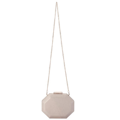 Olga Berg Diana Octagon Clutch evening bag in Champagne colourway showing shoulder chain