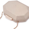 Olga Berg Diana Octagon Clutch evening bag in Champagne colourway showing detailed close up