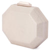 Olga Berg Diana Octagon Clutch evening bag in Champagne colourway showing side view