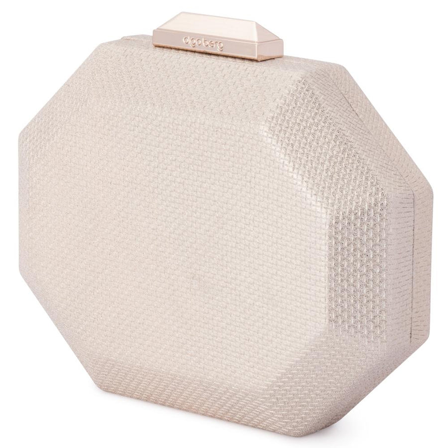 Olga Berg Diana Octagon Clutch evening bag in Champagne colourway showing front view