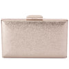 Olga Berg Elle Metallic Rectangular Clutch evening bag in Gold colourway showing front view