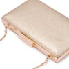 Olga Berg Elle Metallic Rectangular Clutch evening bag in Gold colourway showing detailed close up