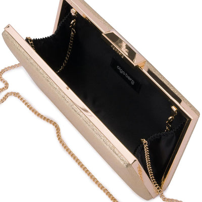 Olga Berg Elle Metallic Rectangular Clutch evening bag in Gold colourway showing internal view