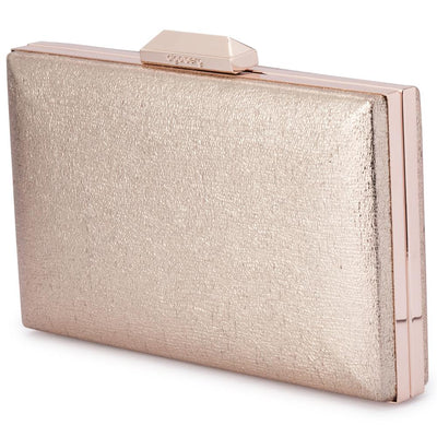 Olga Berg Elle Metallic Rectangular Clutch evening bag in Gold colourway showing side view