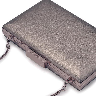 Olga Berg Elle Metallic Rectangular Clutch evening bag in Gunmetal colourway showing detailed close up