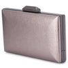 Olga Berg Elle Metallic Rectangular Clutch evening bag in Gunmetal colourway showing side view