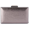 Olga Berg Elle Metallic Rectangular Clutch evening bag in Gunmetal colourway showing front view