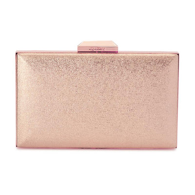 Olga Berg Elle Metallic Rectangular Clutch evening bag in Rose Gold colourway showing front view
