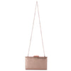 Olga Berg Elle Metallic Rectangular Clutch evening bag in Rose Gold colourway showing shoulder chain