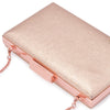 Olga Berg Elle Metallic Rectangular Clutch evening bag in Rose Gold colourway showing detailed close up