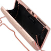Olga Berg Elle Metallic Rectangular Clutch evening bag in Rose Gold colourway showing internal view