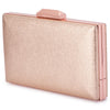 Olga Berg Elle Metallic Rectangular Clutch evening bag in Rose Gold colourway showing side view