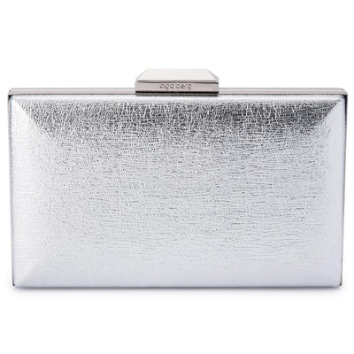 Olga Berg Elle Metallic Rectangular Clutch evening bag in Silver colourway showing front view