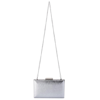 Olga Berg Elle Metallic Rectangular Clutch evening bag in Silver colourway showing shoulder chain