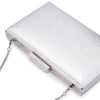 Olga Berg Elle Metallic Rectangular Clutch evening bag in Silver colourway showing detailed close up