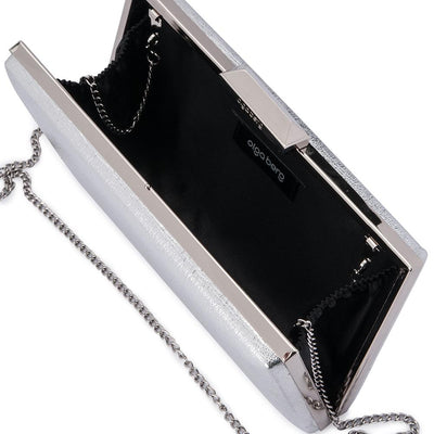 Olga Berg Elle Metallic Rectangular Clutch evening bag in Silver colourway showing internal view