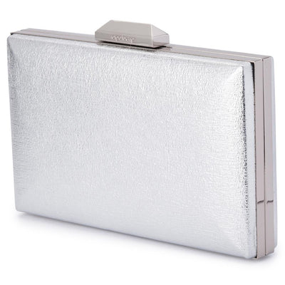 Olga Berg Elle Metallic Rectangular Clutch evening bag in Silver colourway showing side view