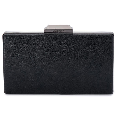 Olga Berg Nancy Glitter Clutch evening bag in Black colourway showing front view