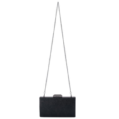 Olga Berg Nancy Glitter Clutch evening bag in Black colourway showing shoulder chain