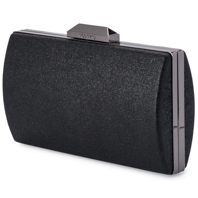Olga Berg Nancy Glitter Clutch evening bag in Black colourway showing side view