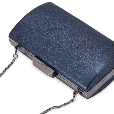 Olga Berg Nancy Glitter Clutch evening bag in Navy colourway showing detailed close up