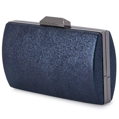 Olga Berg Nancy Glitter Clutch evening bag in Navy colourway showing side view