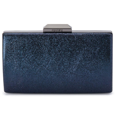 Olga Berg Nancy Glitter Clutch evening bag in Navy colourway showing front view