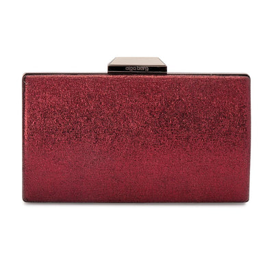 Olga Berg Nancy Glitter Clutch evening bag in Shiraz colourway showing front view