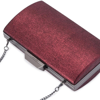 Olga Berg Nancy Glitter Clutch evening bag in Shiraz colourway showing detailed close up
