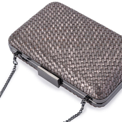 Olga Berg Jasmine Woven Metallic Clutch evening bag in Gunmetal colourway showing detailed close up