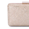 Olga Berg Jasmine Woven Metallic Clutch evening bag in Natural colourway showing detailed close up