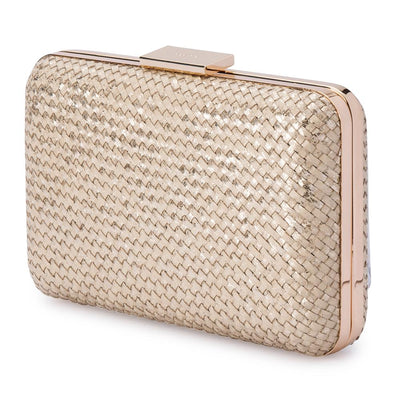 Olga Berg Jasmine Woven Metallic Clutch evening bag in Natural colourway showing side view