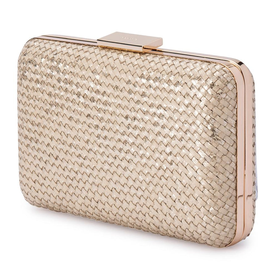 Olga Berg Jasmine Woven Metallic Clutch evening bag in Natural colourway showing front view