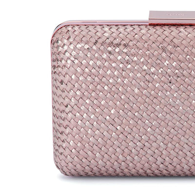 Olga Berg Jasmine Woven Metallic Clutch evening bag in Rose colourway showing detailed close up