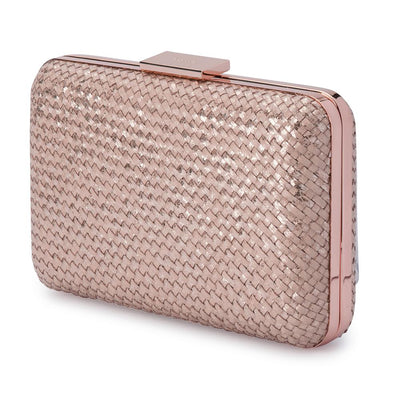 Olga Berg Jasmine Woven Metallic Clutch evening bag in Rose colourway showing side view