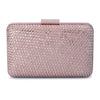 Olga Berg Jasmine Woven Metallic Clutch evening bag in Rose colourway showing front view