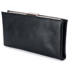 Olga Berg Liz Soft Framed Clutch evening bag in Black colourway showing side view