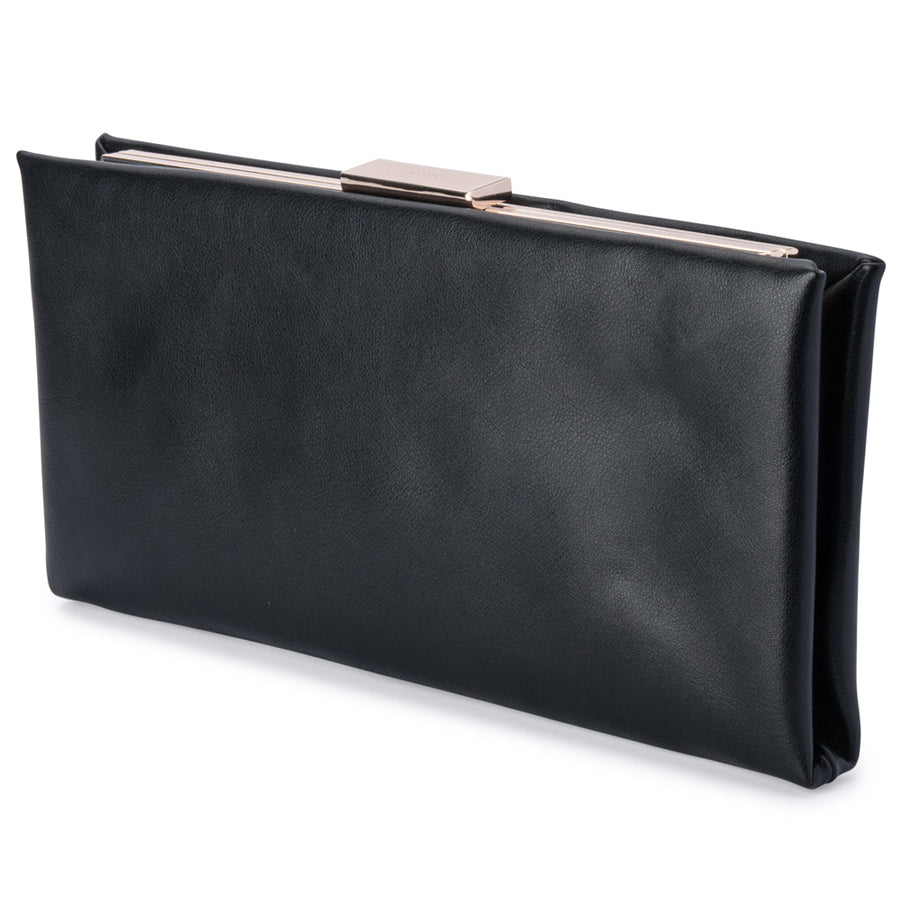 Olga Berg Liz Soft Framed Clutch evening bag in Black colourway showing front view