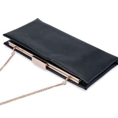 Olga Berg Liz Soft Framed Clutch evening bag in Black colourway showing detail view