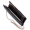 Olga Berg Liz Soft Framed Clutch evening bag in Black colourway showing Interal view
