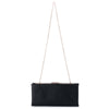 Olga Berg Liz Soft Framed Clutch evening bag in Black colourway showing chain view