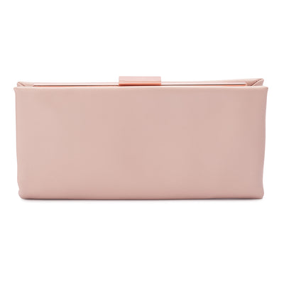 Olga Berg Liz Soft Framed Clutch evening bag in Blush colourway showing front view