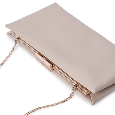 Olga Berg Liz Soft Framed Clutch evening bag in Natural colourway showing detail view