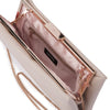 Olga Berg Liz Soft Framed Clutch evening bag in Natural colourway showing Interal view