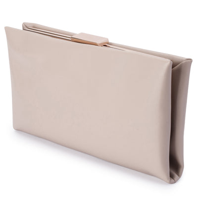 Olga Berg Liz Soft Framed Clutch evening bag in Natural colourway showing side view