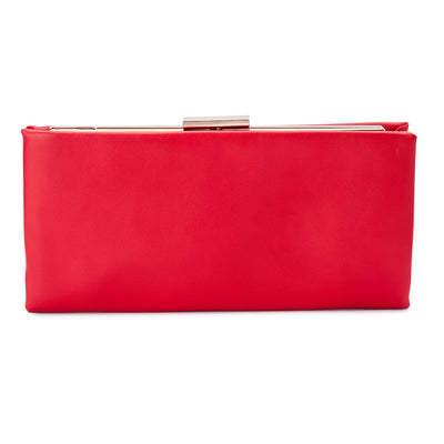 Olga Berg Liz Soft Framed Clutch evening bag in Red colourway showing front view