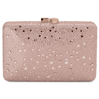 Olga Berg Krystelle Sparkle Clutch evening bag in Rose  colourway showing front view