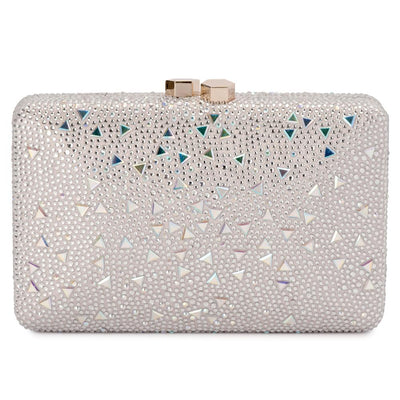 Olga Berg Krystelle Sparkle Clutch evening bag in Silver colourway showing front view